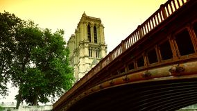 ULTRA HD 4K, real time, zooming; Notre-Dame is one of the most famous landmarks of Paris. stock video