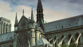 ULTRA HD 4K, real time, zooming; Notre-Dame is one of the most famous landmarks of Paris. PARIS, FRANCE - circa 2015: Notre Dame Cathedral and Seine River stock video