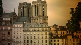 ULTRA HD 4K, real time, zooming; Notre-Dame is one of the most famous landmarks of Paris. PARIS, FRANCE - circa 2015: Notre Dame Cathedral and Seine River stock footage