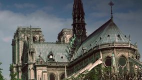 ULTRA HD 4K, real time, zooming; Notre-Dame is one of the most famous landmarks of Paris. stock video footage