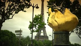ULTRA HD 4K, real time, zooming;sculpture, a replica of the one topping the Statue of Liberty Paris. Paris, -circa 2015:This bronze sculpture, a replica of the stock video footage