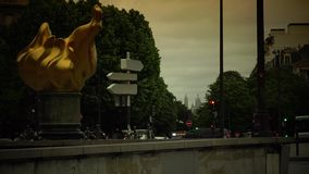 ULTRA HD 4K, real time, zooming;sculpture, a replica of the one topping the Statue of Liberty Paris. Paris, -circa 2015:This bronze sculpture, a replica of the stock video