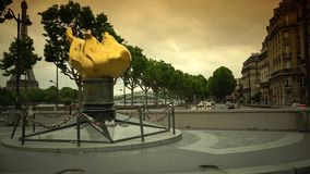 ULTRA HD 4K, real time, zooming;sculpture, a replica of the one topping the Statue of Liberty Paris. Paris, -circa 2015:This bronze sculpture, a replica of the stock footage