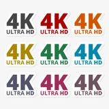 Ultra HD 4K sticker set. Vector icon Stock Photo