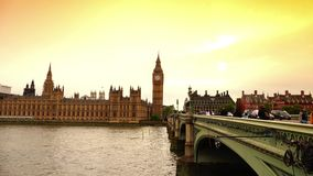 ULTRA HD 4k,time lapse, the Parliament and Big Ben from Westminster bridge stock footage