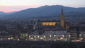 ULTRA HD 4K, vista stupefacente di tramonto di Firenze, Italia, Europa stock footage