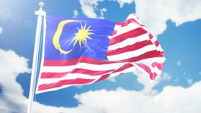 Realistic flag of Malaysia waving against time-lapse clouds background. Seamless loop in 4K resolution with detailed stock video