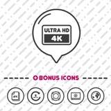 Ultra HD-skärmsymbol symbol 4k royaltyfri illustrationer