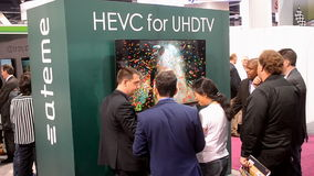 Ultra HD television broadcasting demo, NAB Show 2014, USA,. LAS VEGAS, NV - APR 08: NAB Show 2014 exhibition in Las Vegas, USA on April 08, 2014. Near 1750 stock footage