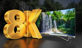 Ultra HD TV with waterfall. Ultra HD TV with a view of the beautiful waterfall, 3D-rendering Royalty Free Stock Photos