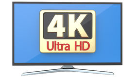 Ultra high definition digital television screen technology concept: 4K UltraHD TV or computer PC monitor display Stock Image