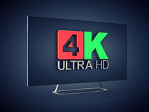 Ultra High Definition. 4K Ultra HD screen tv on dark background , Ultra High Definition display royalty free illustration
