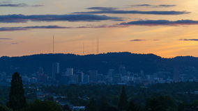 Ultra High Definition 4k Time Lapse Movie of Moving Clouds and Sky Over Downtown Cityscape of Portland Oregon at Sunset 4096x2160 stock video footage