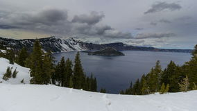 Ultra High Definition 4k Time Lapse Movie of Moving Clouds and Water Reflection Over Crater Lake in Klamath County Oregon. One Spring Day 4096x2304 UHD stock footage