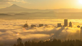 Ultra High Definition 4k Time Lapse Movie of Rolling Fog Low Clouds and Sky with Snow Covered Mount Hood Over Portland OR. Ultra High Definition 4k Time Lapse stock footage