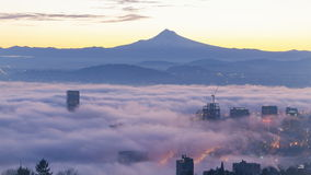 Ultra High Definition 4k Time Lapse Movie of Sunrise with Rolling Fog Over Mt. Hood and City of Portland OR stock video footage
