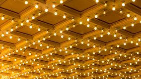 Ultra High Definition 4k Timelapse Movie of Concert Hall Blinking Ceiling Vintage Marquee Lights stock video