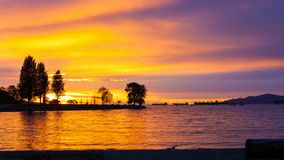 Timelapse movie at Sunset Beach along English Bay in Vancouver BC Canada at dusk 4k stock footage