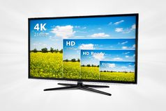 Ultra high definition TV with comparison of resolutions Royalty Free Stock Photo