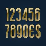 Ultra high golden numbers with currency signs of American dollar and euro. Vector symbols.  royalty free illustration