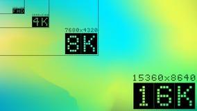 Ultra high hd resolution 16k comparison mock up. Ultra high resolution 16k comparison mock up with abstract tv background image. 8k 4k 2k fullhd ultrahd scale stock illustration