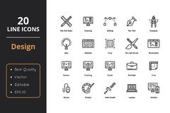 20 Ultra high quality thin line icons. About design. For user interfaces and web Royalty Free Stock Images