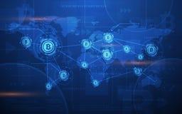 Ultra illustrazione cripto del fondo della mappa di mondo di tecnologia di Blockchain di valuta di Bitcoin dell'estratto di HD Fotografia Stock Libera da Diritti