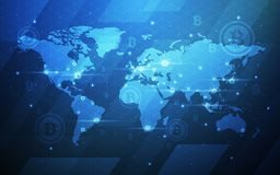 Ultra illustrazione cripto del fondo della mappa di mondo di tecnologia di Blockchain di valuta di Bitcoin dell'estratto di HD Ba Fotografia Stock Libera da Diritti