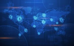 Ultra ilustração cripto do fundo do mapa do mundo da tecnologia de Blockchain da moeda de Bitcoin do sumário de HD Foto de Stock Royalty Free