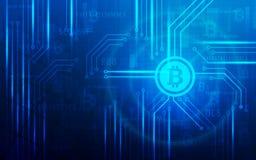 Ultra ilustração cripto do fundo do mapa do mundo da tecnologia de Blockchain da moeda de Bitcoin do sumário de HD Base de dados, ilustração do vetor