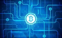 Ultra ilustração do fundo da tecnologia de Bitcoin da placa de circuito do sumário de HD ilustração royalty free