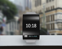 Ultra-lightweight black glass bent interface smartwatch with ste Royalty Free Stock Photography