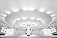 Ultra modern black and white public subway station Royalty Free Stock Photos