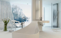 Ultra Modern Design Bathroom interior with bathtub. Ultra Modern Design Bathroom interior with unusual shaped bathtub, shower and floor-to-ceiling window with a Stock Images