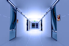 Ultra Modern Futuristic Building Corridor Illustration Royalty Free Stock Image