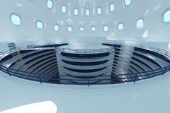 Ultra modern futuristisk datorhallillustration vektor illustrationer