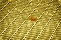 Ultra orange quadratische Metallluke in der städtischen Pflasterung, im Abwasserkanalkanaldeckel mit Markierungslinien und im Bla Stockbilder