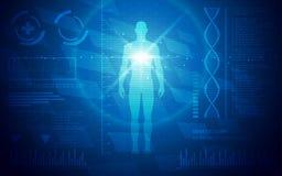 Ultra papel de parede médico da anatomia humana de Sci Fi do sumário de HD ilustração royalty free