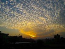 Ultra Piękna chmura Rozprasza widok z wschodem słońca Zdjęcia Stock
