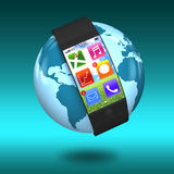 Ultra slim bent interface smartwatch with apps on earth. On blue green Royalty Free Stock Image