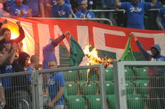 Ultra supporters burn flares during match Royalty Free Stock Photo