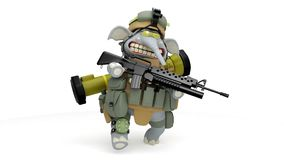 Cartoon Elephant infantryman walks stock video footage
