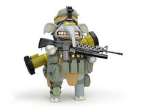 Cartoon elephant infantryman at the post 3d illustration  Royalty Free Stock Photography