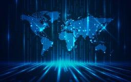 Ultra tapet för världskarta för HD-abstrakt begreppteknologi Arkivbild