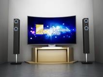 Ultra tevê curvada HD com sistema do cinema em casa ilustração stock