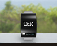 Ultra-thin black glass bent interface smartwatch with metal watc Royalty Free Stock Photography