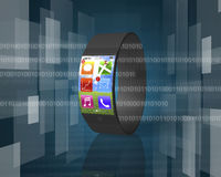 Ultra-thin curved-screen smart watch on tech-digital background Stock Image