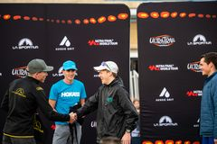 Ultra-Trail Australia UTA11 race. Over all runner up Will Atkinson receives his prize royalty free stock photo