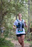 Ultra-Trail Australia UTA11 race. Runner Kate Shedden rounding the corner at the 3km mark at Gordon Falls Look out stock photo
