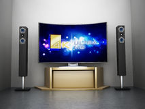 Ultra TV incurvée par HD avec le système de home cinéma illustration stock